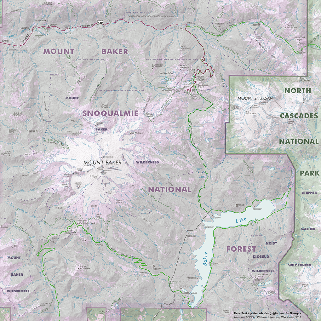 Topographic map of Mount Baker and a small portion of North Cascades National Park