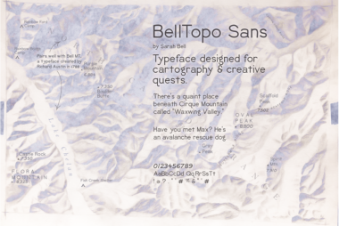 hillshade map with sample of typeface throughout