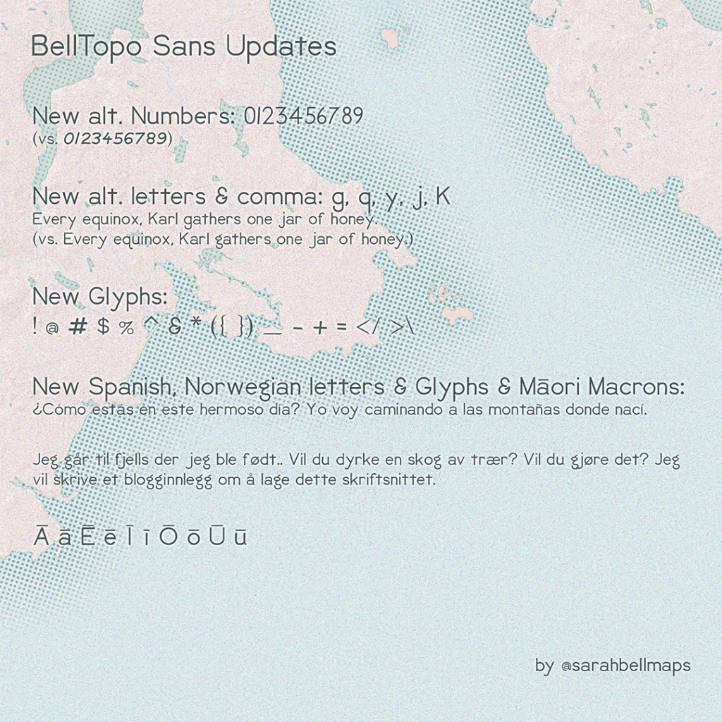 Map with font preview of new characters and glyphs