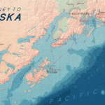 Map of Alaska showing the westernmost part of Alaska add the Pacific Ocean