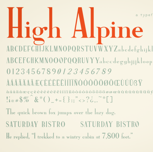 High Alpine typeface preview